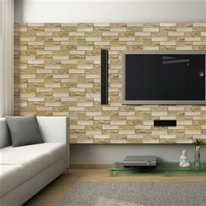 Dundee Deco 3D Wall Panel - Beige Faux Brick - 3.2' x 1.6'