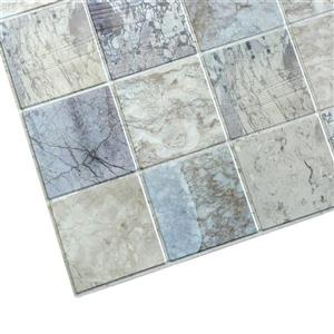 Dundee Deco PVC 3D Wall Panel - Blue and Beige Marble Squares