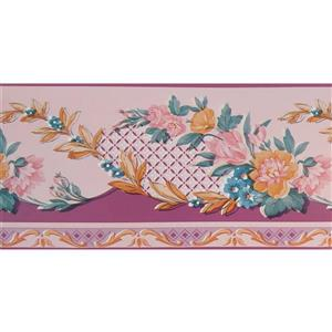 Dundee Deco Wallpaper Border - Pink Yellow Aegean Blue Flowers on Fence