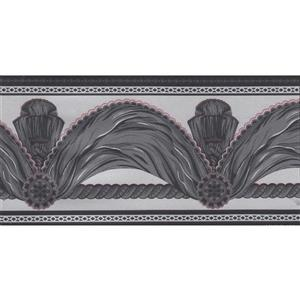 Dundee Deco Wallpaper Border - Faux Charcoal Grey Black Curtain Grey