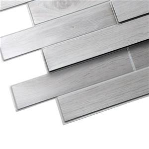 Dundee Deco PVC 3D Wall Panel - White/Grey Oak Bricks - 3.2' x 1.6'