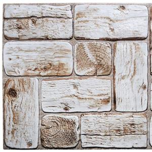 Dundee Deco PVC 3D Wall Panel - White Faux Logs - 3.2' x 1.6'
