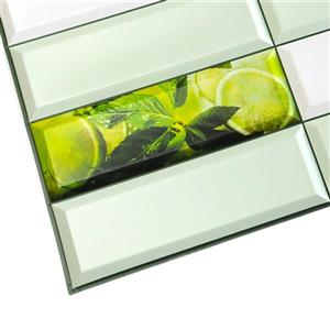 Dundee Deco PVC 3D Wall Panel - Green Mint Leaves Lime - 3.1' x 1.6'