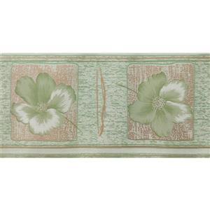 Dundee Deco Wallpaper Border - Light Green Flowers/Light Brown Squares