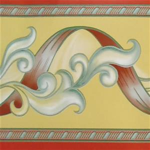 Dundee Deco Wallpaper Border - Abstract Red Stripe Greenish Vines