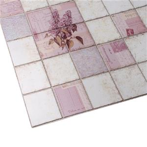 Dundee Deco PVC 3D Wall Panel - Pink Lilacs in Squares