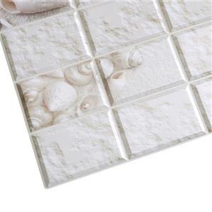 Dundee Deco PVC Wall Panel - White Stone Shells - 3.2' x 1.6'
