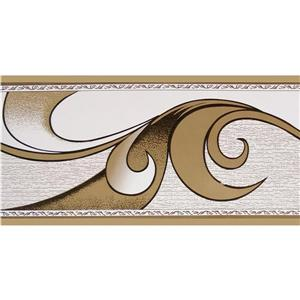 Dundee Deco Wallpaper Border - Abstract Brown Scrolls