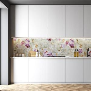 Dundee Deco 3D Wall Panel - Purple and White Orchid Mosaic - 3.2' x 1.6'