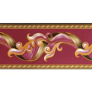 Dundee Deco Wallpaper Border - Abstract Damask Scroll Magenta Burgundy