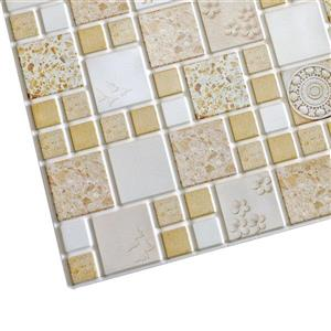 Dundee Deco PVC 3D Wall Panel - Mustard Yellow Squares Medallions