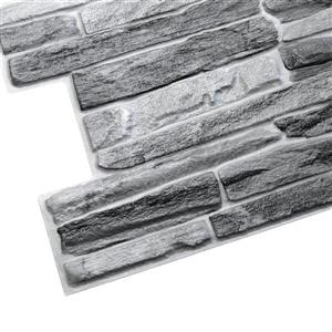 Dundee Deco PVC 3D Wall Panel - Dark Grey Faux Slate - 3.2' x 1.6'
