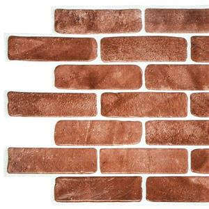 Dundee Deco Vintage Brown Faux Brick 3D Wall Panel - 3.4' x 1.6'