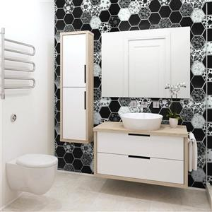 Dundee Deco 3D Wall Panel - Black and White Floral Mosaic - 3.2' x 1.6'
