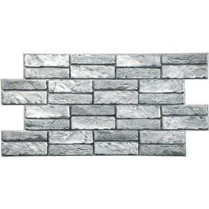 Dundee Deco PVC 3D Wall Panel - Grey Faux Old Brick - 3.1' x 1.6'