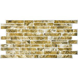 Dundee Deco PVC 3D Wall Panel - Greenish Gold Faux Slate - 3.4' x 1.6'