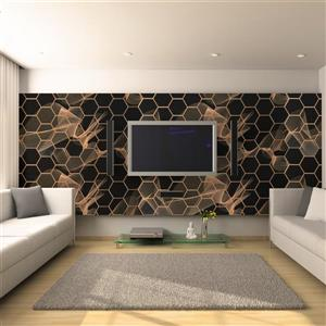 Dundee Deco 3D Wall Panel - Black and Gold Hexagon Mosaic - 3.2' x 1.6'