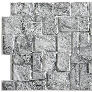 Dundee Deco PVC 3D Wall Panel - Grey Faux Old Stone - 3.2' x 1.6'