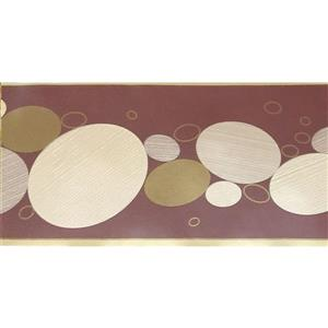 Dundee Deco Wallpaper Border - Abstract Beige Brown Circles Russet