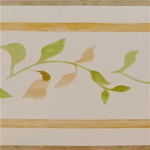Dundee Deco Wallpaper Border - Green Yellow Leaves on Vine Light Beige