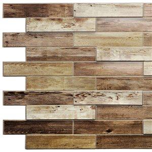 Dundee Deco PVC 3D Wall Panel - Brown Faux Dutch Oak - 3.2' x 1.6'