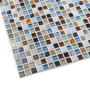 Dundee Deco 3D Wall Panel - Beige/Green/Brown Amber Glass Mosaic