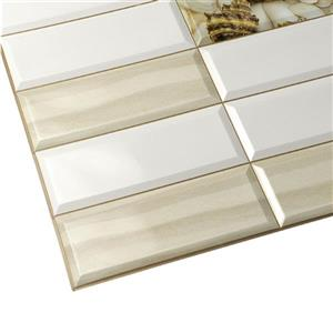 Dundee Deco PVC 3D Wall Panel - White Beige Shells Sand - 3.1' x 1.6'