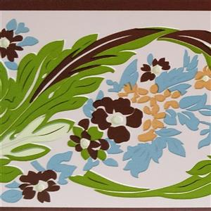 Dundee Deco Wallpaper Border - Green Russet Vines Stylized