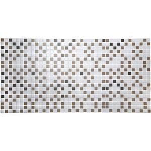 Dundee Deco PVC 3D Wall Panel - Off White and Brown mosaic