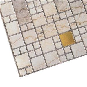 Dundee Deco 3D Wall Panel - Beige Marble with Gold Squares