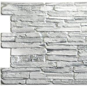 Dundee Deco PVC 3D Wall Panel - White Faux Flagstone - 3.2' x 1.6'