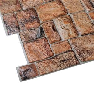 Dundee Deco PVC 3D Wall Panel - Brown Red Faux Stone - 3.2' x 1.6'