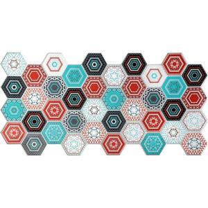Dundee Deco PVC 3D Wall Panel - Multicolor Hexagon Mosaic - 3.2' x 1.6'