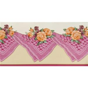 Dundee Deco Wallpaper Border - Orange Bloomed Roses Pink Red Table Cloth