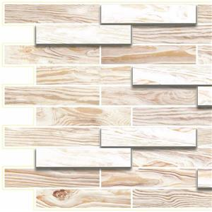 Dundee Deco PVC 3D Wall Panel - Off White Faux Oak Steps - 3.2' x 1.6'