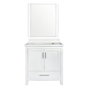 GEF Willow Vanity Set with Mirror, Quartz Top, 30-in White