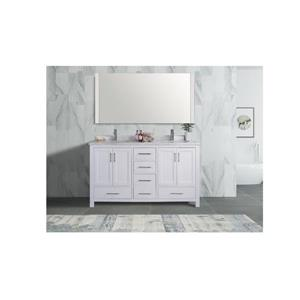 GEF Willow Vanity Set with Mirror, Marble Top, 60-in White