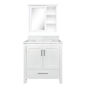 GEF Willow Vanity Set with Medicine Cabinet, Marble Top, White