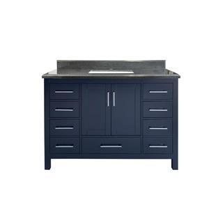 GEF Willow Vanity with Granite Top, 48-in Royal Blue