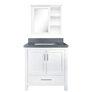 GEF Willow Vanity Set with Medicine Cabinet, Quartz Top, White