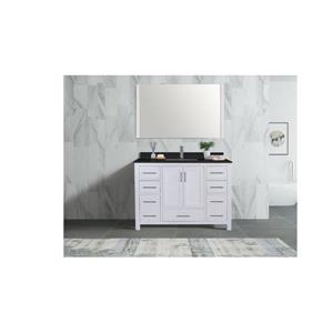 GEF Willow Vanity Set with Mirror, Granite Top, 48-in White