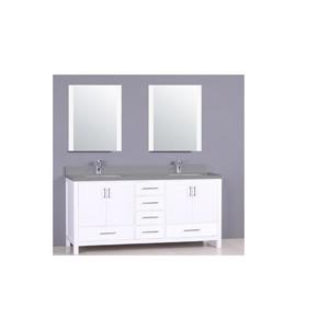 GEF Willow Vanity Set with 2 Mirrors, Quartz Top, 72-in White