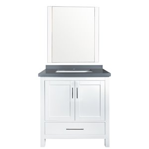 GEF Willow Vanity Set with Mirror, Quartz Top, 30-in White