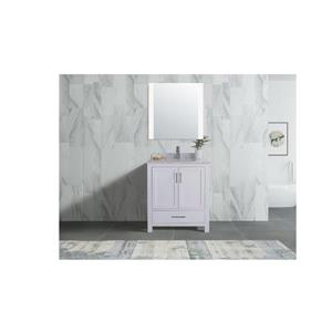 GEF Willow Vanity Set with Mirror, Marble Top, 30-in White