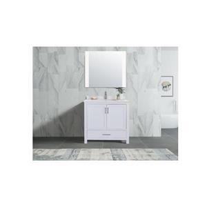 GEF Willow Vanity Set with Mirror, Quartz Top, 36-in White