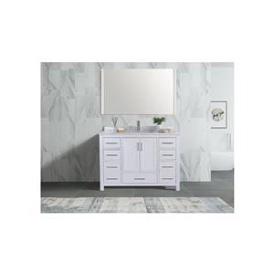 GEF Willow Vanity Set with Mirror, Marble Top, 48-in White