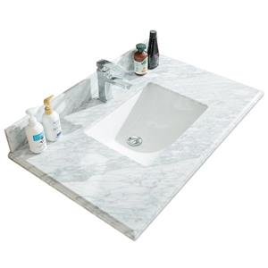 GEF Willow Vanity Set with Mirror, Marble Top, 36-in White