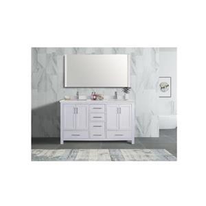 GEF Willow Vanity Set with Mirror, Quartz Top, 60-in White