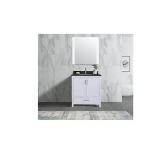 GEF Willow Vanity Set with Mirror, Granite Top, 30-in White