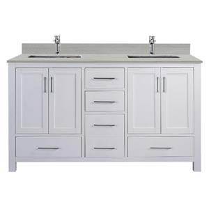 GEF Willow Vanity Set with Mirror, Solid Surface Top, 60-in